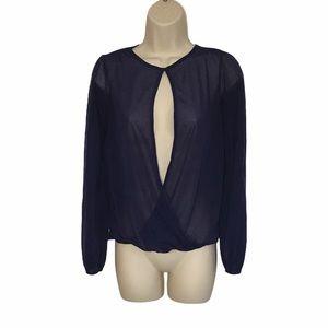ASOS Split Open Front Long Sleeve Sheer Shirt 4 S